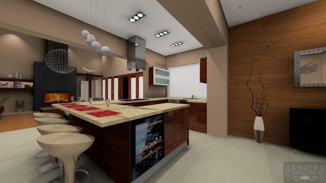 A nagy konyha ismérve a konyhasziget, kisebb területen a félsziget.