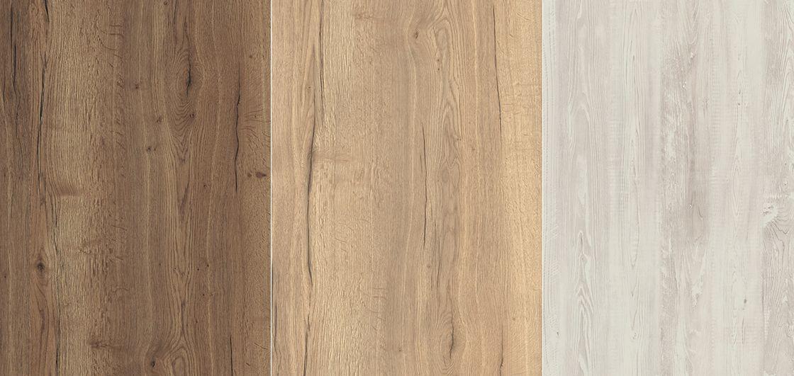 EGGER konyhai munkalapok: 1./ H1181 St37 - Tibacco Halifax Oak, 2./ H1180 ST37 - Natural Halifax Oak, 3./ H1401 ST22 - Cascina Pine