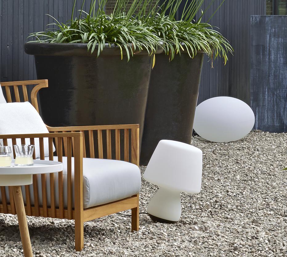 Mushroom asztali lámpa és Globe outdoor lámpa