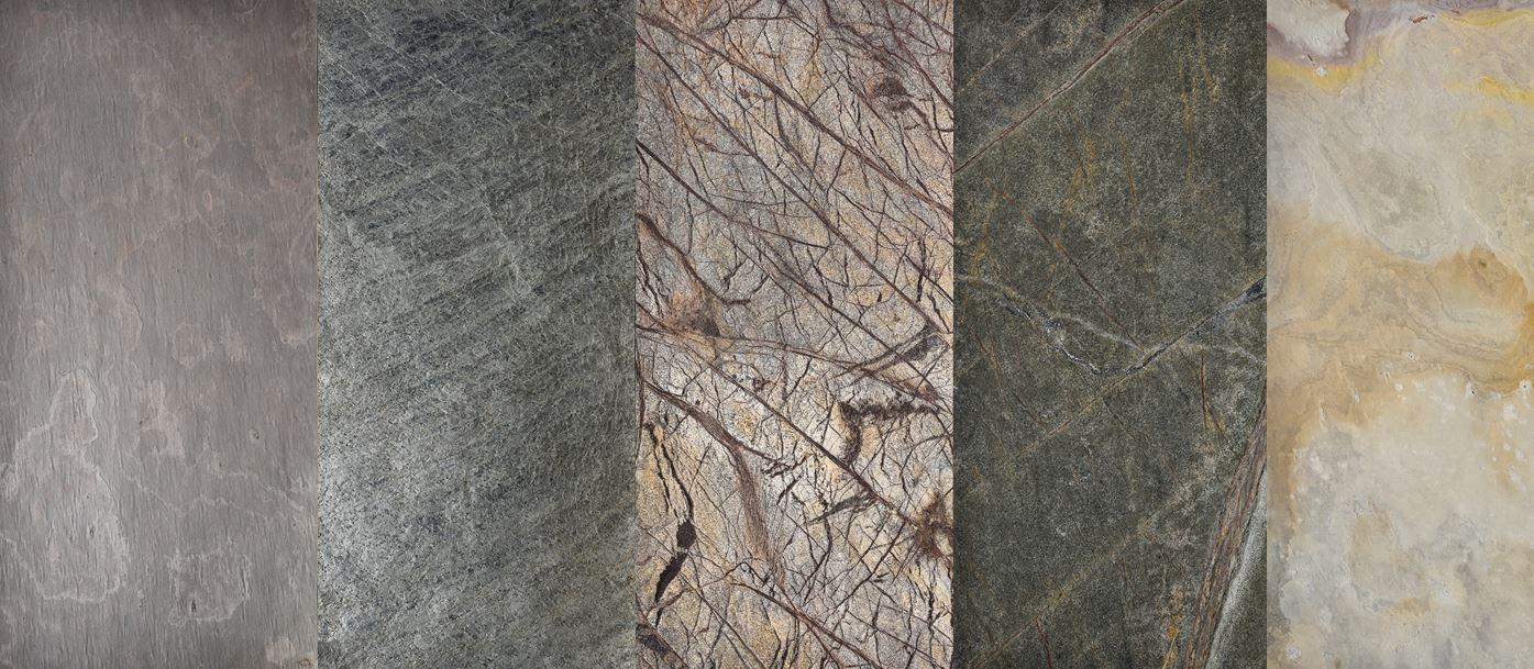 Multicolour - standard litestone, Ocean green- litestone, Rainforest Brown - sandstone homokkőfurnér, Rainforest Green - sandstone homokkőfurnér, Sahara white - standard litestone palakőfurnér
