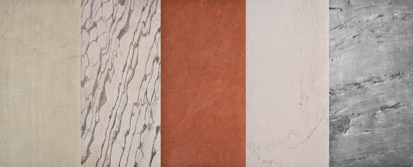 White - sandstone homokkőfurnér, Zebra white - sandstone homokkőfurnér, Red - sandstone homokkőfurnér, Crystal white - limestone mészkőfurnér, Sapphire green - sandstone homokkőfurnér