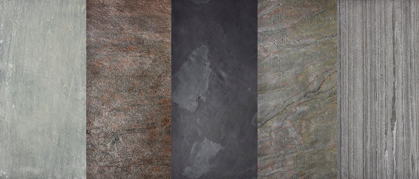 Cement Green - limestone mészkőfurnér, Cooper - myca litestone palakőfurnér, Black - litestone palakőfurnér, Burning Forest - liteston palakőfurnér, Black Line sandstone homokkőfurnér