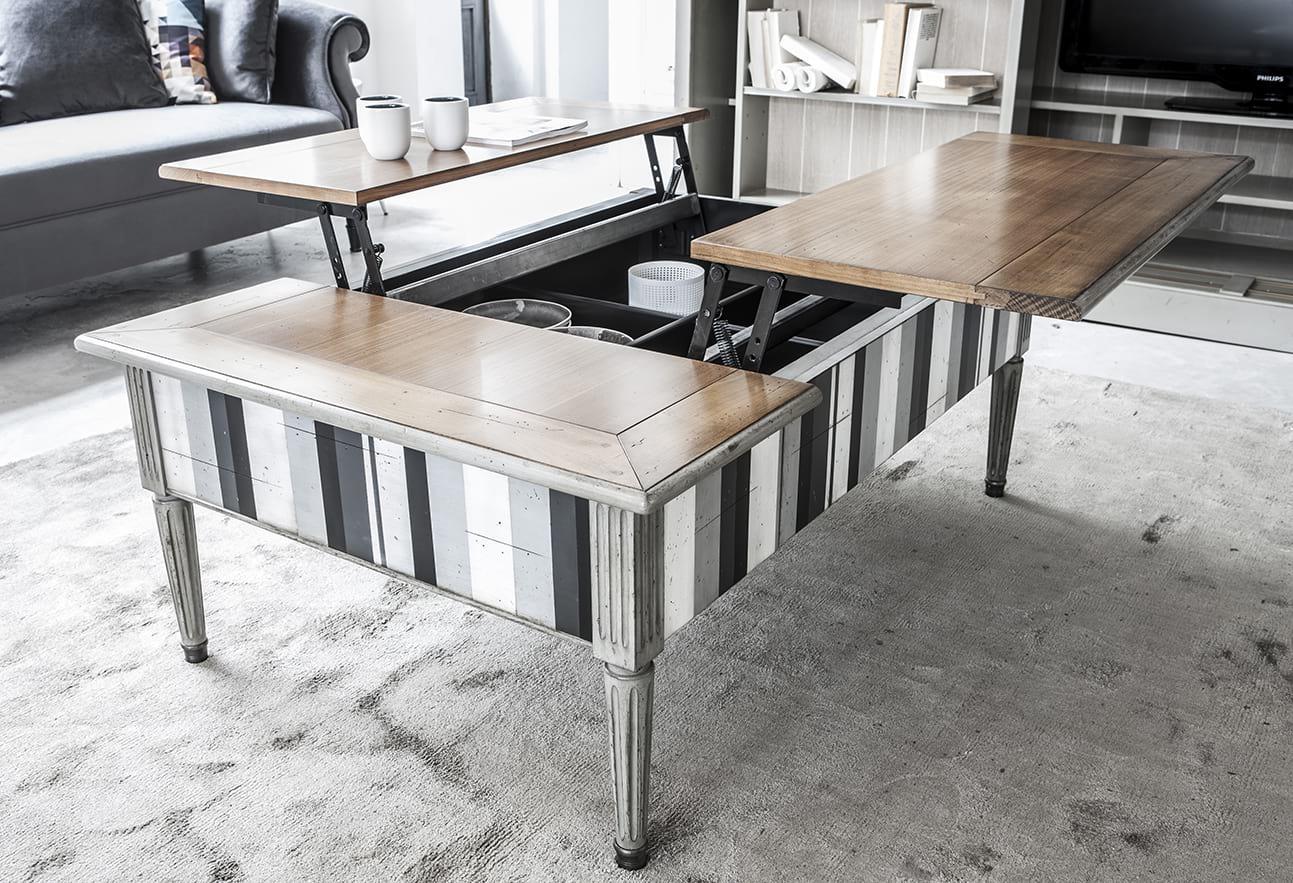 A Jacobs dohányzóasztal speciális zsanérszerkezetének köszönhetően egy egyszerű mozdulattal, kényelmesen használható szervízasztallá alakítható.